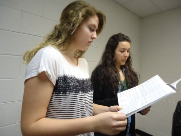 Sophomores Meghan Ashey and Moira Mitchell prepare for All-State.
