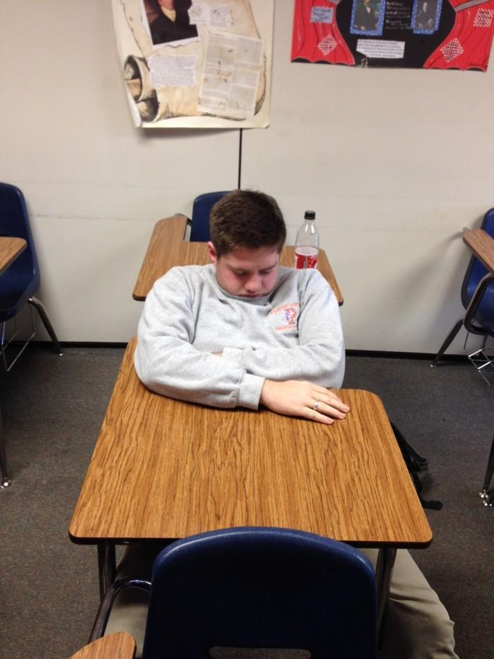 Davis Wright takes a nap in sixth period.