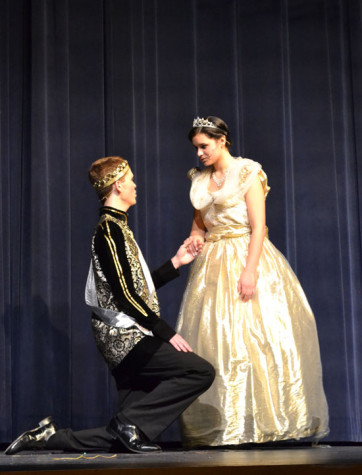Prince Chris and Cinderella steal away during the ball.