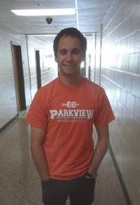 Coach Demarest shows his Parkview cross country pride throughout the halls.