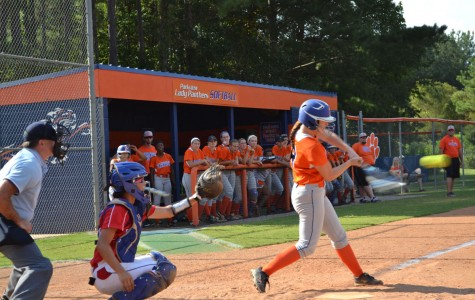 Lexi Walker takes a swing at Parkview's home field to keep the inning alive.