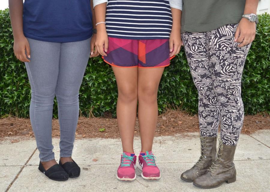 Jeans and leggings are often equally tight; the same piece shorts could pass on one student but violate dress code on another.