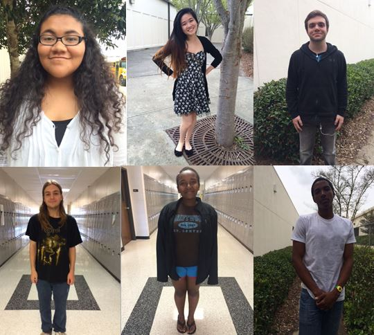 (L-R) Students Kizzy McBride, TIna Nguyen, Asher Aloni, Tom Sherwood, Elshaddai Girma, and Kedar Chambers show off the different stages of high school life.