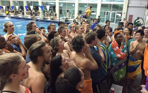 The Parkview swim team raises spirits with an enthusiastic chant. (photo courtesy of Eric Brown)