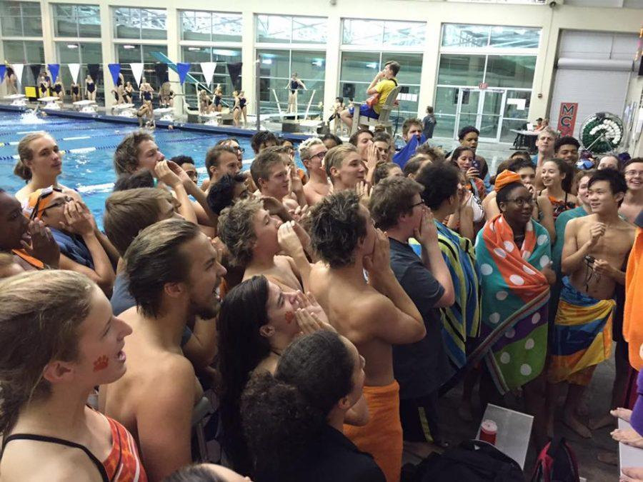 The+Parkview+swim+team+raises+spirits+with+an+enthusiastic+chant.+%28photo+courtesy+of+Eric+Brown%29