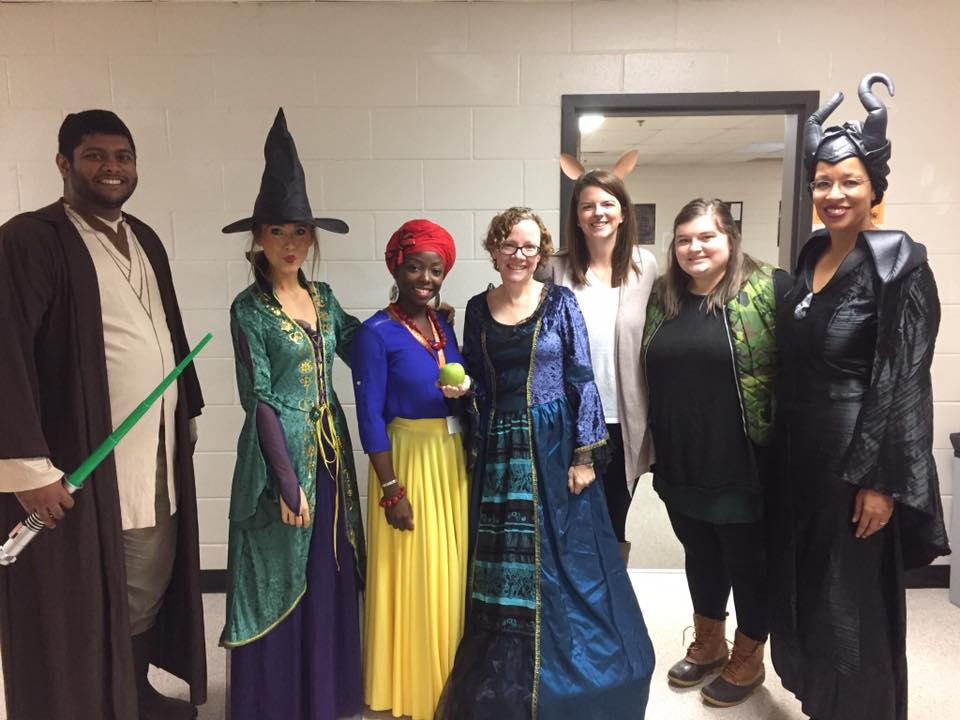 Teachers dress up for the Disney character day.