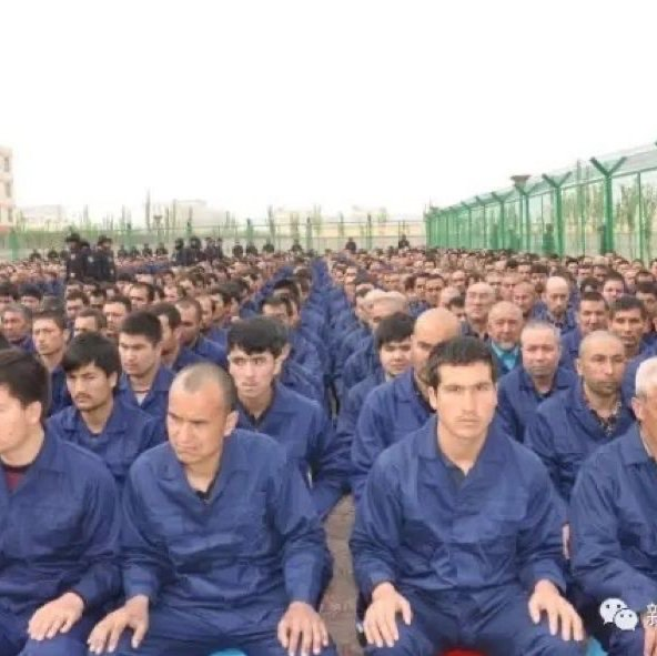 Government social media post in April 2017 shows detainees in a camp in Hotan Prefecture.  Courtesy of Al Jazeera