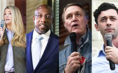 Sen. Kelly Loeffler, Rev. Raphael Warnock, Sen. David Perdue, and Jon Ossoff. Courtesy of Vox.