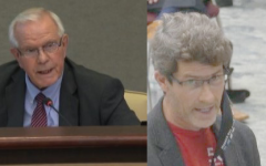 Superintendent J. Alvin Wilbanks (left) heated dispute with Brian Westlake (right). (Photo Courtesy of Nia Embry and GCPS Website).