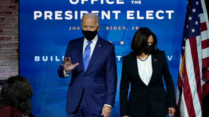President-elect Joe Biden and Vice President-elect Kamala Harris Dec. 1, 2020, in Wilmington, Del., Courtesy of AP