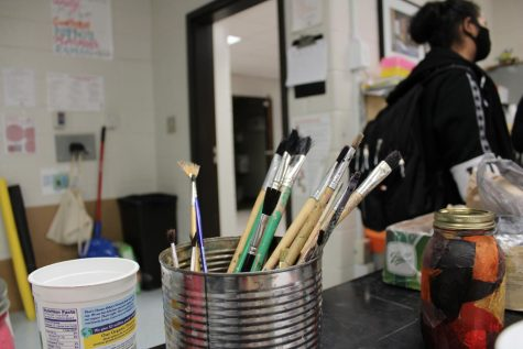 This photograph is of art supplies in an Art classroom at Parkview.
